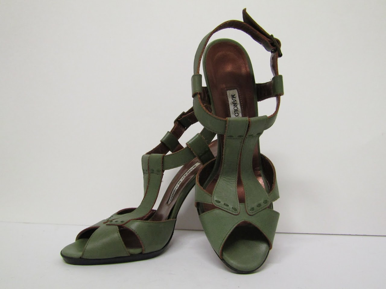 Manolo Blahnik Green Stiletto Sandals