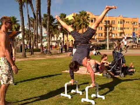 Tony And Jim Do Handstand Exercises, Tony Horton