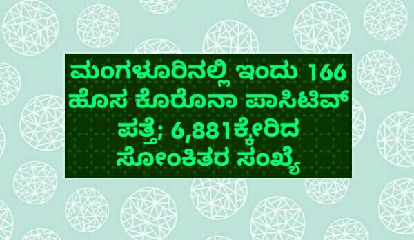 ಮಂಗಳೂರಿನಲ್ಲಿ ಇಂದು 166 ಹೊಸ ಕೊರೊನಾ ಪಾಸಿಟಿವ್ ಪತ್ತೆ; 6,881ಕ್ಕೇರಿದ ಸೋಂಕಿತರ ಸಂಖ್ಯೆ