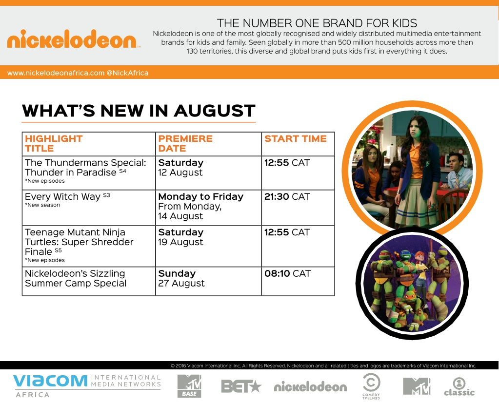 Entertainment Inside Us: What's New In August 2017 On Nickelodeon Africa