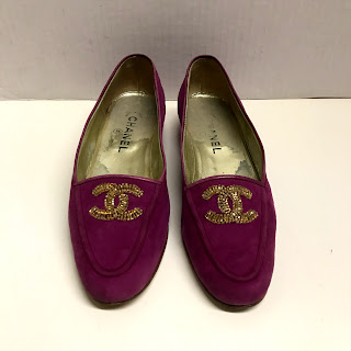 Chanel Purple Suede Loafers