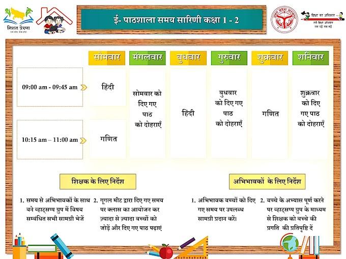 ई-पाठशाला समय सारिणी कक्षा 1 से 8 तक के लिए यहां से करें डाउनलोड