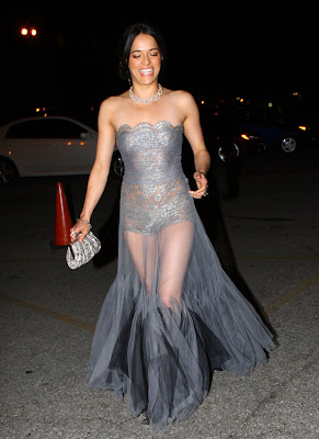 Michelle Rodriguez Parties in See-Through Dress