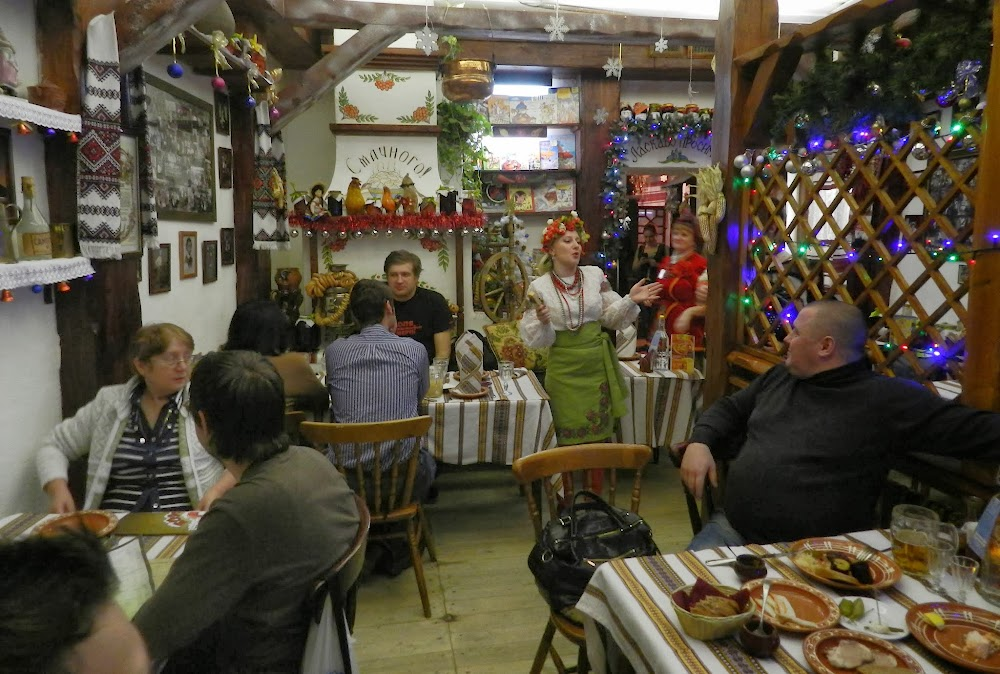 happy dancing and singing waitress lady at this lovely little Ukrainian restaurant.  Great borscht here, honestly the best i've had!!