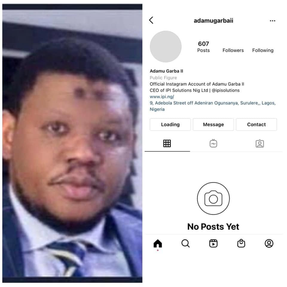 Adamu Garba's Instagram account deleted few days after his app was removed from Google play store