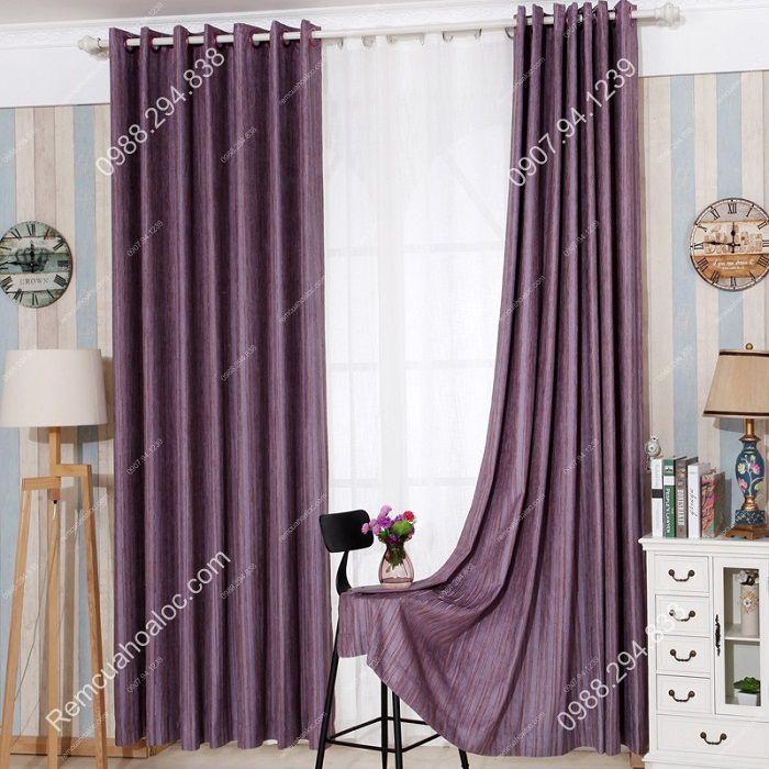 Rèm cửa đẹp hà nội cao cấp một màu nhung nỉ kẻ  4