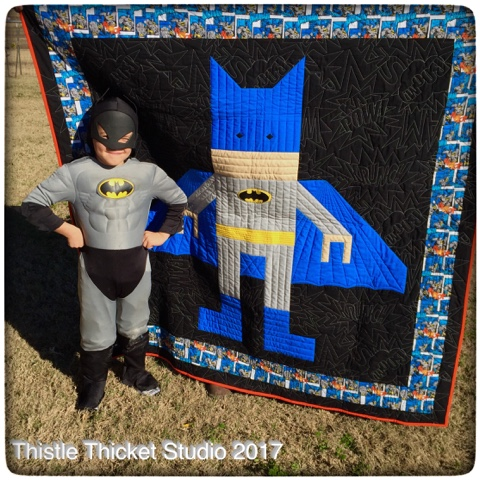 Thistle Thicket Studio, batman, lego batman, batman quilt, quilts, quilting