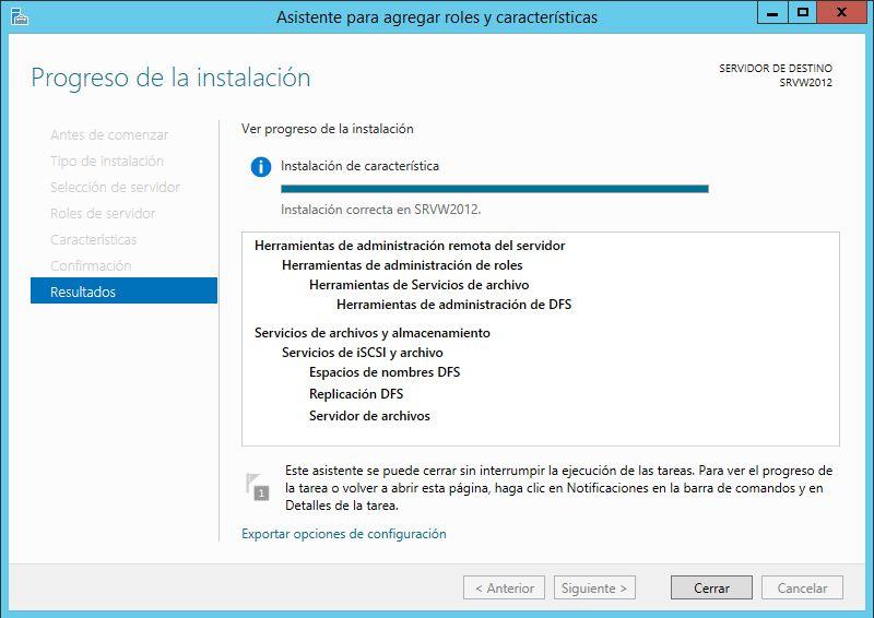 Instalar rol Replicación DFS y Espacio de nombre DFS en servidor con Winsdows Server 2012 R2