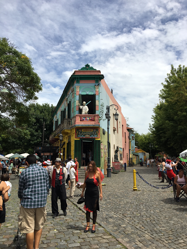 Colourful houses, a tango dancer, and a statue of the pope