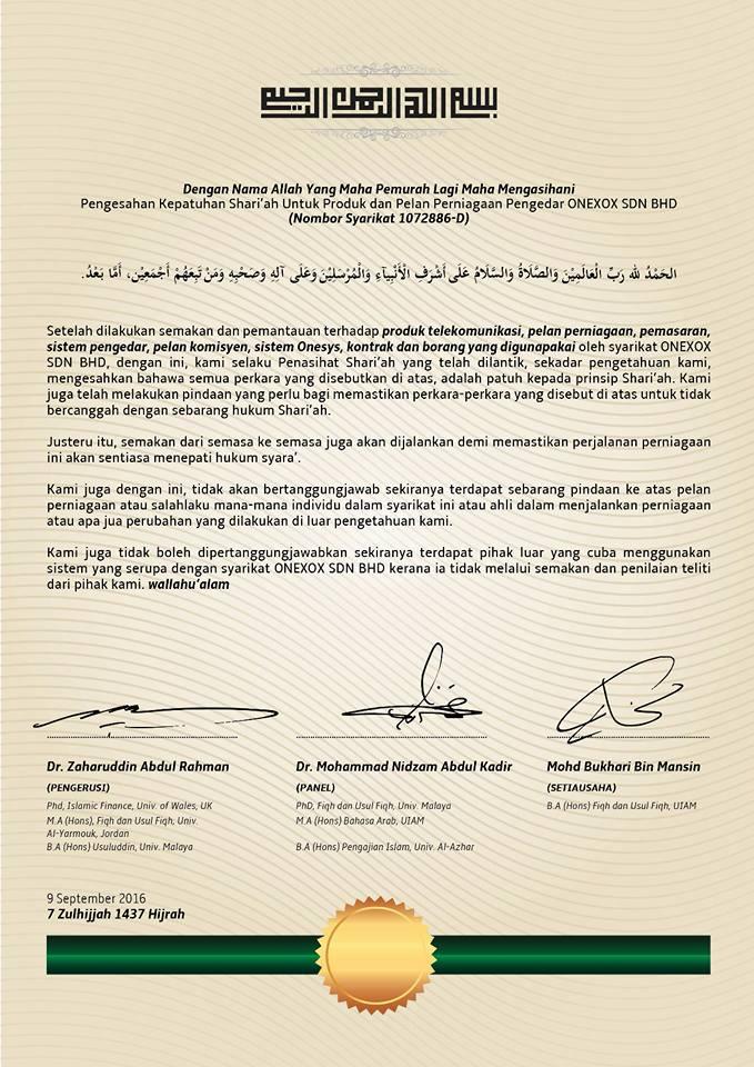 Sijil Patuh Syariah ONEXOX