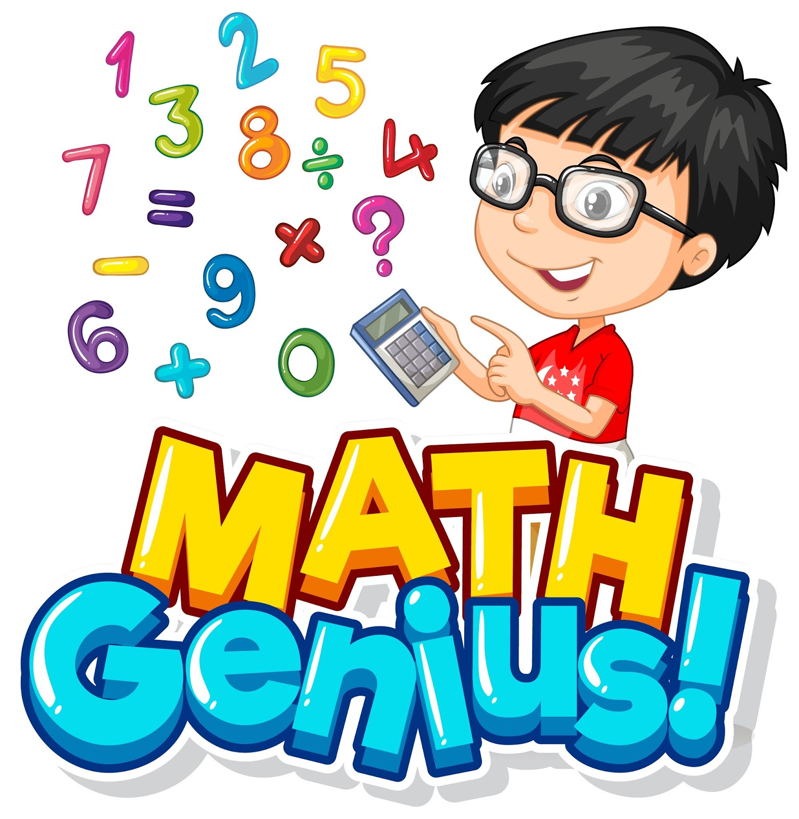 Font Design Math Genius With Boy Numbers Free Download Vector CDR, AI, EPS and PNG Formats