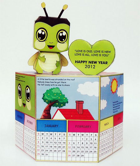 Little Green Beetle Paper Toy 2012 Calendar