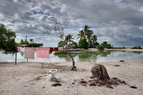 On Kiribati – The barren land after constant inundation exemplifies the long lasting impacts of salt water intrusion.