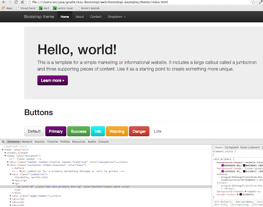 Customizing Twitter Bootstrap with the Lesscss Gradle plugin