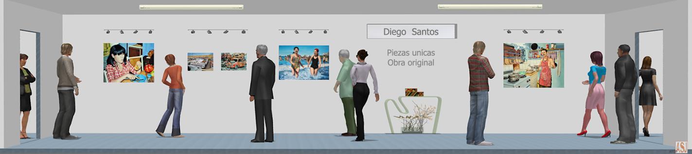 Sala de exposición virtual de pinturas de Diego Santos