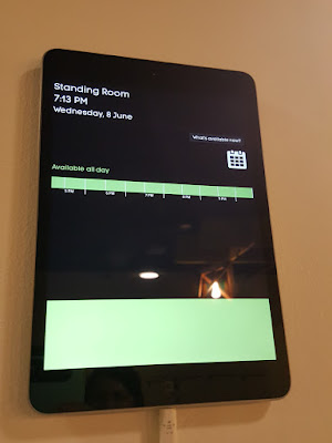 Each meeting room has a touch panel outside showing when it has been booked.