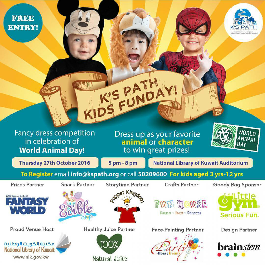 Register Your Kids For K's Path Kids Funday To Be Held Thursday 27th  October, 5 Pm To 8 Pm At National Library Of Kuwait Auditorium