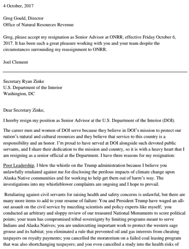 Page 1 of the resignation letter of Joel Clement, a scientist and policy expert at the U.S. Interior Department, on 4 October 2017. Graphic: Joel Clement