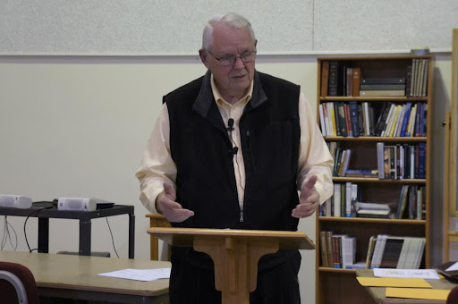 Pastor emeritus Bob McFarland (Topeka RPC) challenged students to take seriously the Covenant of Church Membership.