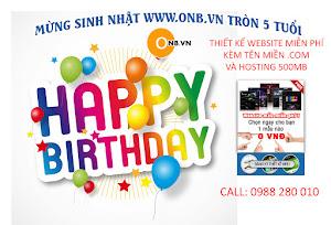 Mừng Sinh Nhật ONB.VN tròn 5 tuổi Thiết kế website miễn phí