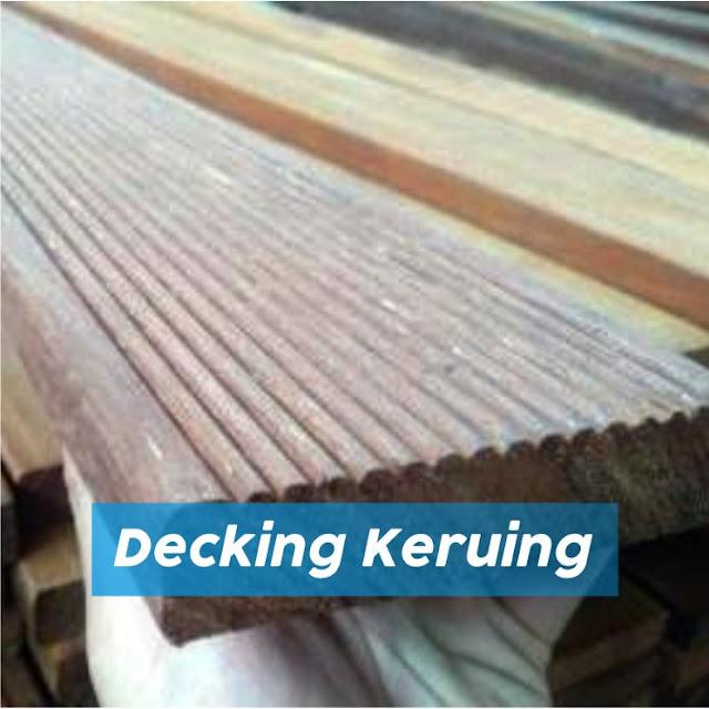 Decking kayu keruing untuk samping kolam renang
