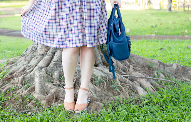 Wearing a mini Navy Anello backpack and Miss L Fire wedges | Lavender & Twill