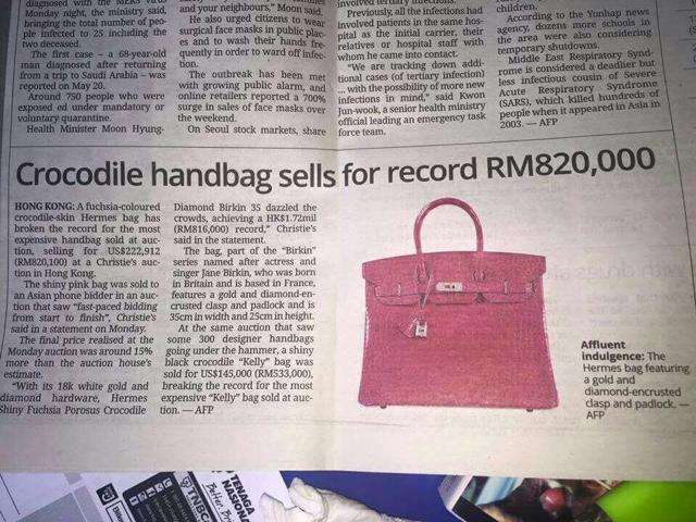 hermas bags - Beg Tangan Lelong RM820,000 itu Bukan Milik Rosmah ~ BE DA MAN !!!