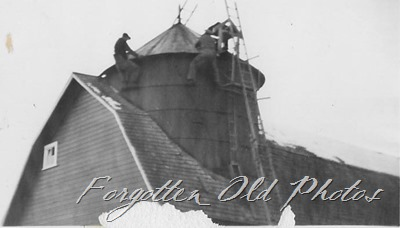 men on top of barn Verndale ant two
