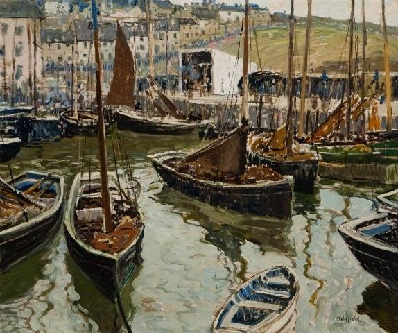 Walter Elmer Schofield - Crowded Harbor, Cornwall