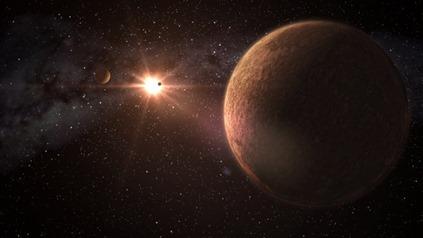 ilustração de um sistema planetário com três exoplanetas rochosos