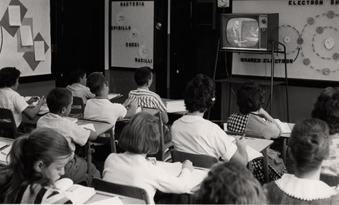 Seventh- and eighth-grade students watch a course televised through MPATI. The initiative used a Purdue-owned aircraft to broadcast videotaped courses from fall 1961 until 1968. (Photo courtesy of Purdue University Archives and Special Collections)