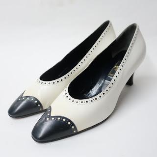 Fendi Vintage Black and White Kitten Heels