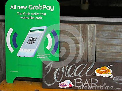 GrabPay signboard - my 100th image upload on Dreamstime