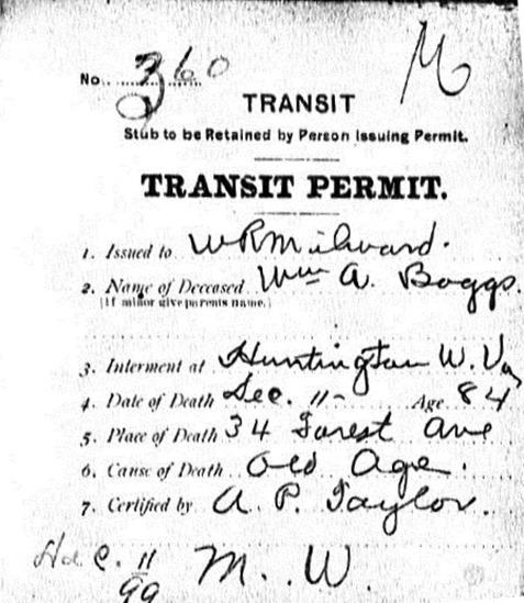 BOGGS_Wm A_burial transfer permit from KY to WVA_Dec 1899