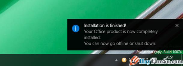 Thông báo cài đặt Office 2016 kết thúc