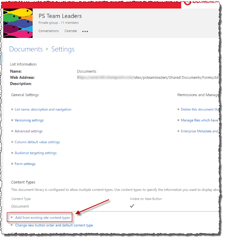 Content types in Office 365 group libraries