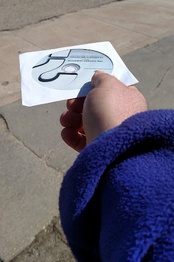How easy is it to give out an evangelistic DVD? Just put your hand out like this...