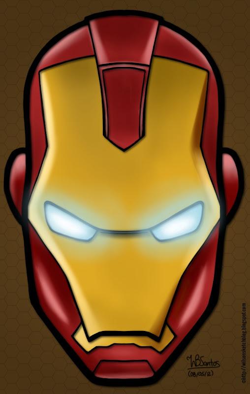 Digital painting of Iron Man's head, using Krita.
