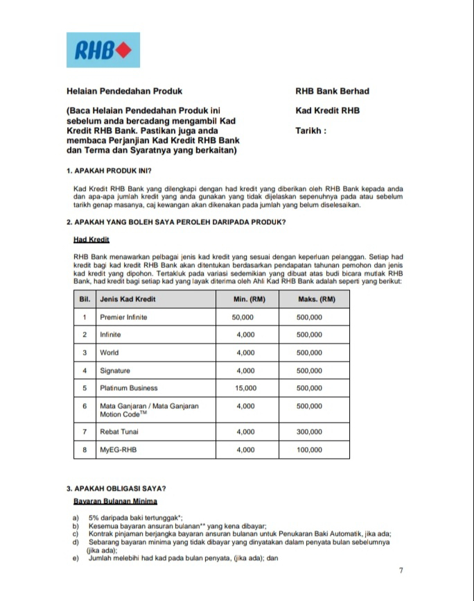 Product Disclosure Sheet - Rhb Credit Card
