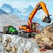 雪 未舗装道路 建設 掘削機