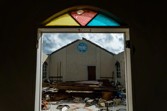 Barbuda's Seventh-day Adventist Church was heavily damaged by the Hurricane Irma. Photo: Salwan Georges / The Washington Post