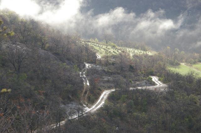 Les Hautes-Courennes en avril 2005. Vue sur la garrigue et le ravin des Fouix. Photo : J.-M. Gayman