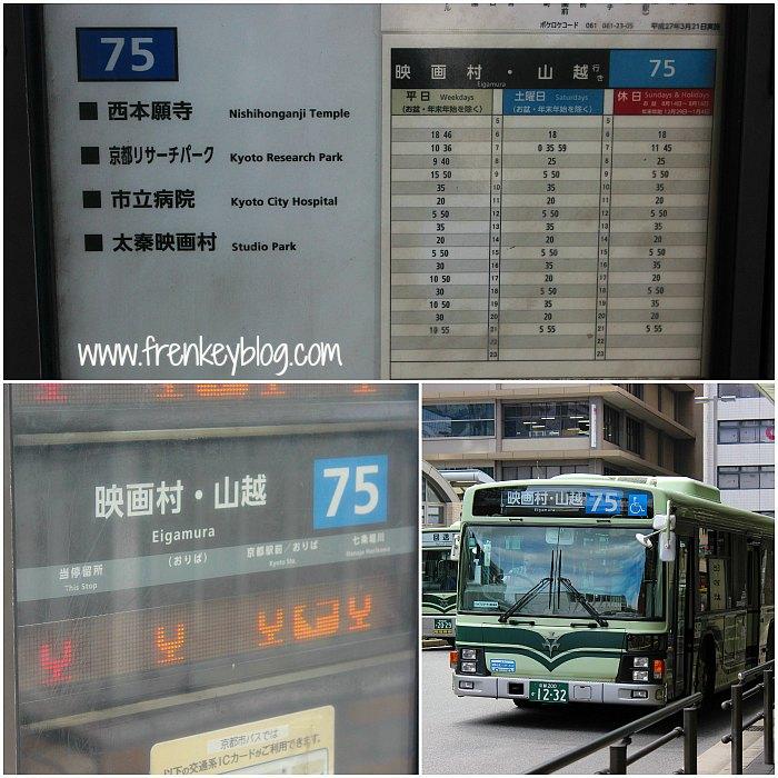 Timetable dan Bus Nomor 75 Tujuan Toei Kyoto Studio Park