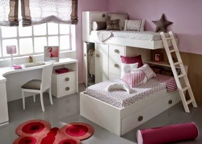 Dormitorios juveniles y habitaciones infantiles con dos camas - Literas lacadas en blanco ...