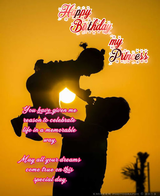 Girl Playing with her father with sunset in background, Happy birthday quotes for kids.