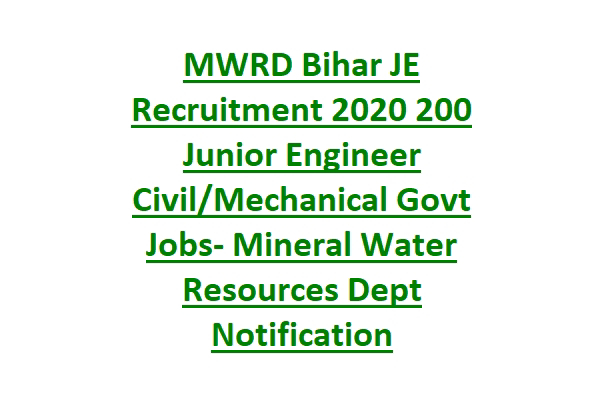 MWRD Bihar JE Recruitment 2020