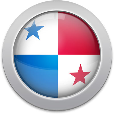 Panamanian flag icon with a silver frame