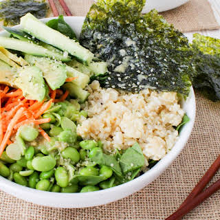 Vegan Deconstructed Sushi Salad Bowl with Sesame Ginger Miso Dressing.
