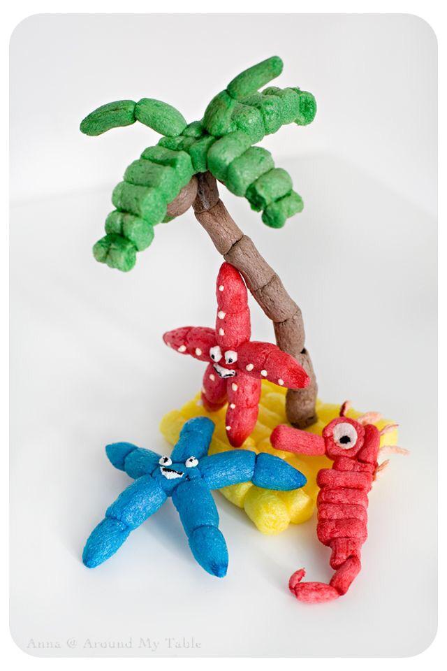 material-fecula-patata-playmais-niños-palmera-estrella-caballito-mar-manualidades
