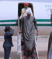 President Buhari returns to Nigeria from Addis Ababa the capital Ethiopia